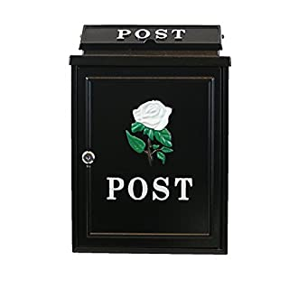 16'' Inch Arboria #POST80 Post Box Black White Rose Design - Letter - Mail - Postbox
