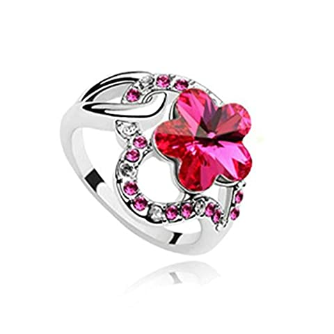 Epinki Gold Plated Ring, Womens Wedding Bands Red Heart Hollow Plum Flower Crystal Ring Size P 1/2