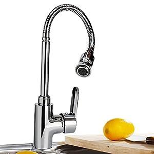 Grifo monomando para el fregadero de la cocina, con cuello flexible que gira 360grados