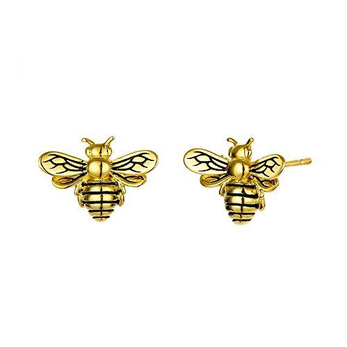 weiwei Herren Ohrringe Männer Ohr Nägel S925 Silber Dame Niedlich Insekt Ohrringe 12 * 15mm Kreative Persönlichkeit Golden Bee Stud