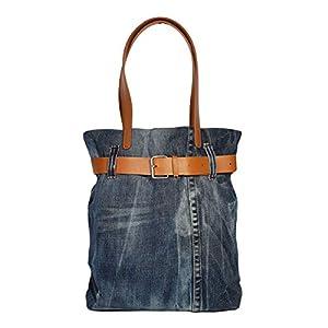 Denim Tote Bag, Jeansstoff Shopper Tasche, Kunstleder Gürtel Lederhenkel Damentasche aus alten Jeans, Handtasche Damen…