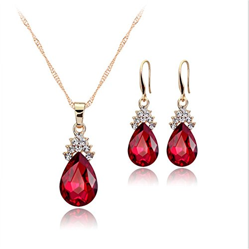 TREESTAR Fashion Delight Drop Kristall Halskette Ohrringe zweiteiliges Mädchen Favorite Anhänger Halskette Ohrringe Geschenk für Freundin Elegante Dame Jewelry Set 3, Legierung, weiß, M (Grils Kleidung)