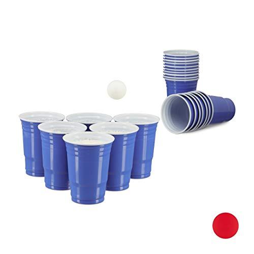 Relaxdays Beer Pong Getränkebecher im 50er Pack Party Cups für ca. 473 ml / 16 oz Flüssigkeit, blau - Bier-cup