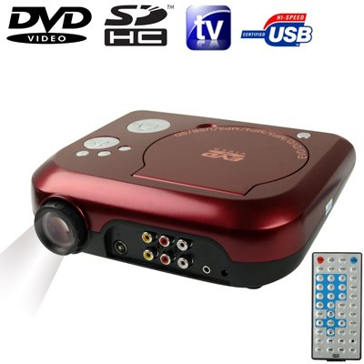 Home Theater Portable DVD Projector with TV Receiver Function (PAL / NTSC / SECAM), AV IN / OUT and Game Function, Support SD / MMC Card / USB Flash Disk, Projection Image Size: 10 Pal-dvd Ntsc-tv