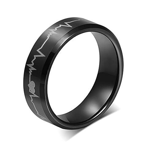 AMDXD Bijoux Acier Inoxydable Homme Bagues de Fiançailles Noir Coeur Electrocardiogramme Taille 61.5,Lettrage Gratuit