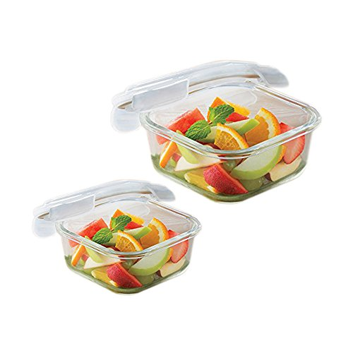 Borosil Microwavable Klip - N - Store Square Dish With Lid - Set of 2 (520, 800 ml)  available at amazon for Rs.830