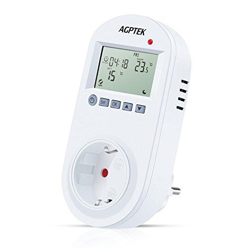 AGPTEK Termostato Enchufe Control, Regulador Enchufe del de Temperatura Interruptor del temporizador, 6 Periodos Programable, LCD Pantalla por Aire Acondicionado Calentador, Blanco