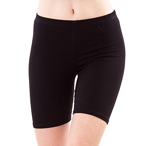 SBF Solid Plain Hosiery Shorts Tight Knee Length Spandex Stretch Athletic Yoga Bike (M, black)  available at amazon for Rs.299