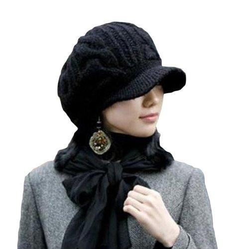 DAYAN Elegante Ragazze Inverno Cappelli Lana Bello caldo Ski Berretti In Maglia Donne colore nero