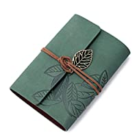 Tonsee® Vintage Leaf Leather Cover Loose Leaf Blank Notebook Journal Diary Green