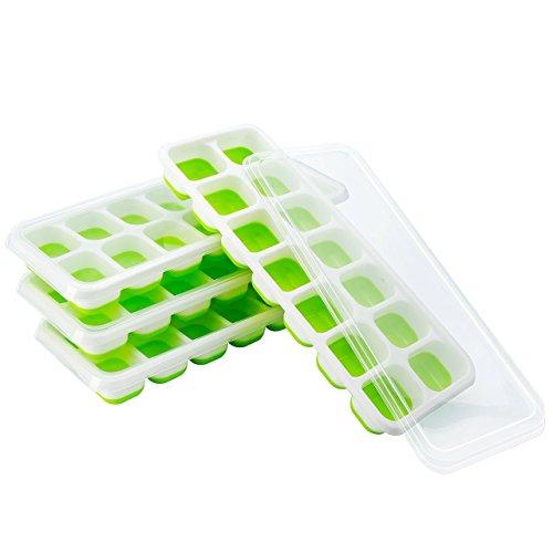 (4 Pack) TOPELEK Moules à Glace, Bac de Glaçons LFGB et BPA Free Silicone Certifié Glace Cube Tray Moisissures avec Couvercle Non-Déversement, Meilleur pour l\'Eau Cocktails et Autres Boissons - Vert
