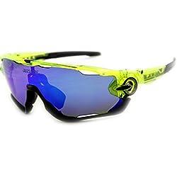 Queshark TR90 UV400 Unisex Gafas de Sol Deportivas Polarizadas 3 Lentes de Cambios Incluido para Deporte y Aire Libre Ciclismo Gafas Conducción Pesca Esquiar (Color 06, Blue)