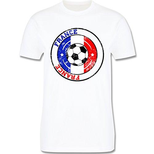 EM 2016 - Frankreich - France Kreis & Fußball Vintage - Herren Premium T-Shirt Weiß
