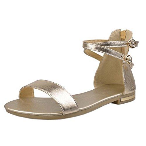 RizaBina Femmes Mode Bout Ouvert Croix Ankle Wrap Fermeture Eclair Plates Sandales Or