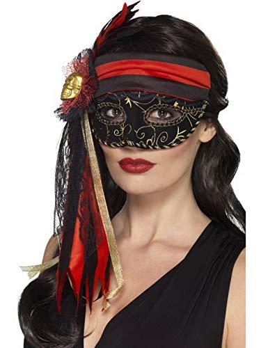 Luxuspiraten - Kostüm Accessoires Zubehör Damen Masken Piratenmaske, perfekt für Karneval, Fasching und Fastnacht, Schwarz
