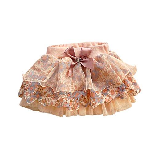BOBORA Baby Mädchen florale Bowknot Blütenblatt Blume Tüll geschichteten Kleid, Pink, S(2-3 Jahre)