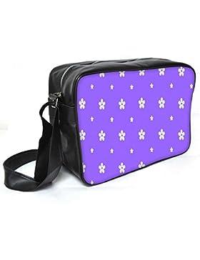 Snoogg weiß Blume in Lila Leder Unisex Messenger Bag für College Schule täglichen Gebrauch Tasche Material PU