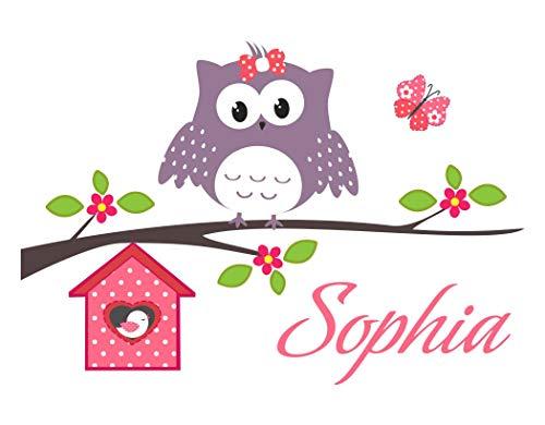 Livingstyle & Wanddesign Wandtattoo Happy Eule mit Wunschnamen und Schmetterling (80 cm x 52 cm)