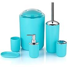 Juego de accesorios de baño, 6 unidades, botellas de loción, soporte para cepillo