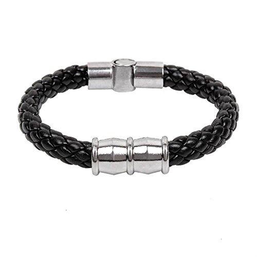 Serpentine Leder (Sunnyshopday qnw6076ssd314Schmuck Handgefertigt Titan Stahl Punk Serpentine Geflochten Leder Armreif Armband Hand Kette)