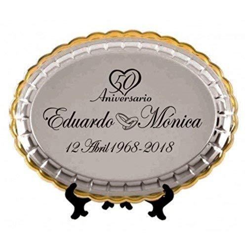 Regalo bodas oro bandeja grabada 50 aniversario regalos