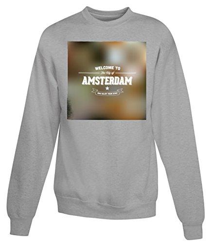 Billion Group | Welcome To The City Of Amsterdam | City Collection | Women's Unisex Sweatshirt Grigio Medium