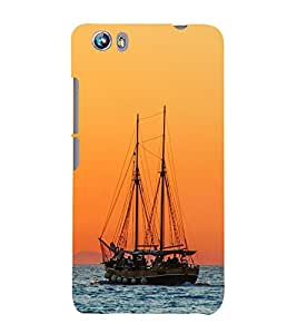 Boat in the Sea 3D Hard Polycarbonate Designer Back Case Cover for Micromax Canvas Fire 4 A107