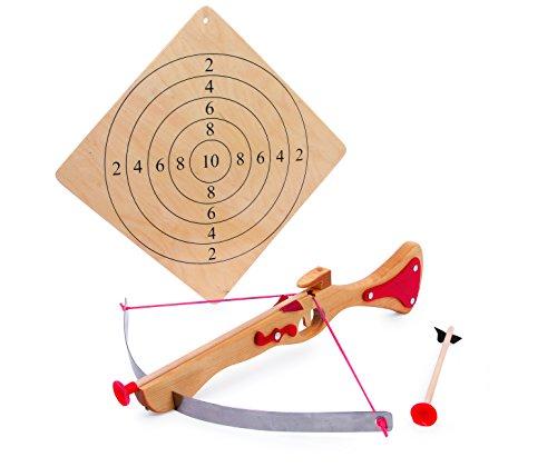 Sportarmbrust aus Holz, Zielscheibe und zwei Pfeile mit Gummikappen,  sicherer Spielspaß ganz ohne Bedenken, ab 6 Jahre