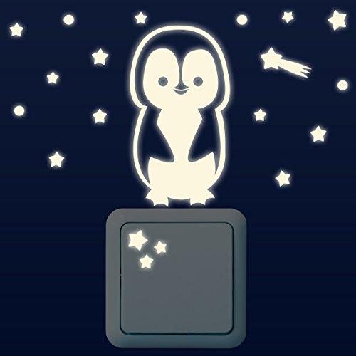 Wandkings Leuchtaufkleber für Lichtschalter/Pinguin, Sterne, Sternschnuppen, Punkte im 20-er Set/im Dunkeln leuchtend