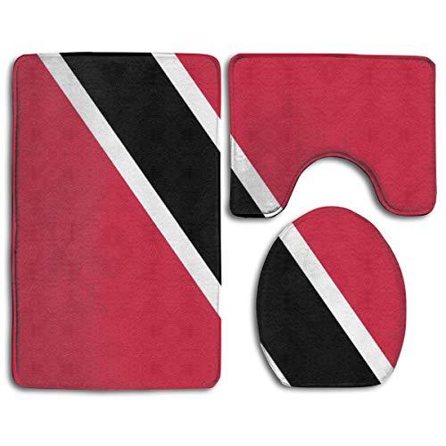 Cocoal-ltd Trinidad und Tobago-Flaggen-Emblem, weicher, bequemer Flanell-Badezimmerteppich, rutschfest, saugfähig, 3 Stück -