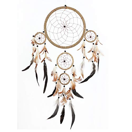 Pink Pineapple Dreamcatcher Traditionelle mit Federn: Handgemachter Traumfänger - String Natürliche Farbe - Großer Traumfänger Mit 22 cm Durchmesser und 55 cm Lang