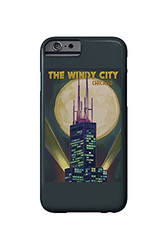 The Windy City - Chicago, Illinois - Willis Tower and Full Moon (iPhone 6 Cell Phone Case, Slim Barely There)