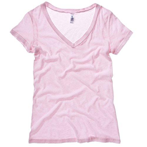 Bella + Canvas Damen Tissue Jersey T-Shirt mit tiefem V-Ausschnitt, Kurzarm (Large) (Soft Pink) (Jersey-t-shirt Belle)