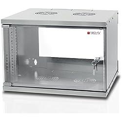 """Techly Armadio Rack 19"""" a Muro 6U prof. 320 Grigio Assemblato (I-CASE EL-1006G32)"""
