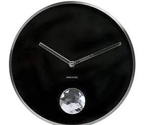 Karlsson Horloge murale à balancement Diamant Noir