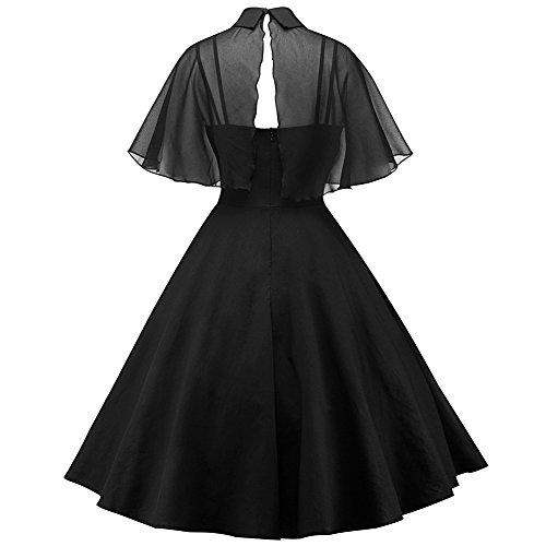 iBaste Hepburn Vintage Donna Vestiti Doll Collar Abiti Spaghetti Straps Chiffon Manica Arruffata Mantellina Abito Svasato Nero