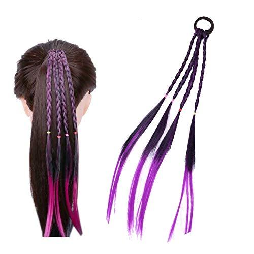 and 1 Stück Haar-Ring Twist Braid Gummiband Haarschmuck gefärbte Haar-Verlängerung Geflochtene Synthetic Toupets für Erwachsene und Kinder (lila) ()