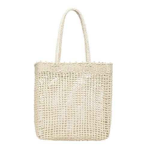 Frauen Stroh Strandtasche Vintage handgemachte gewebte Umhängetasche Rattan Taschen böhmischen Sommerurlaub Casual Taschen N (Bulk Tragetaschen Personalisierte)