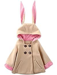 Manteau à capuche Bébé Filles Hiver Chaud Longra Oreille de lapin à trois dimensions Boutons Manche longue Blouson avec Poche Veste Pas cher Vêtements d'extérieur Épais Habit Enfant
