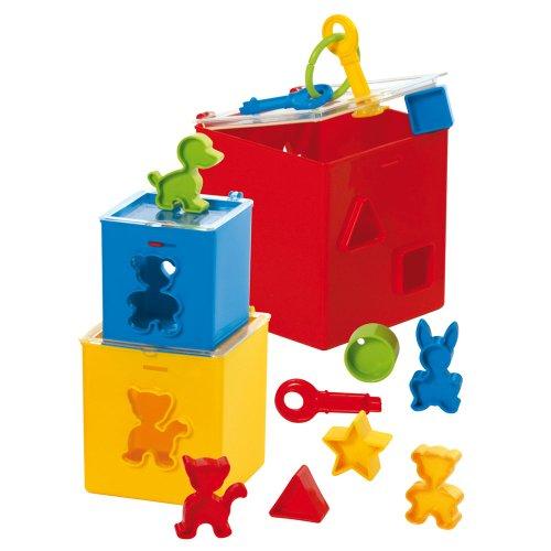 Gowi 453-21 Steckbox eckig, Sortier-, Stapel- und Steckspielzeug, 12 teilig