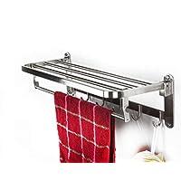 Towel Rack Double Folding 304 Stainless Steel Towel Rail Bracket Wall-Mounted Towel Shelf