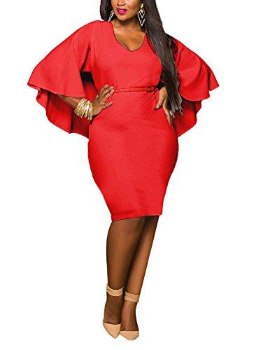 Minetom Donna Estate Scollo a V Batwing Vestiti Tinta Unita Dress Vestito Midi Bodycon Vestito Grande Taglia Rosso