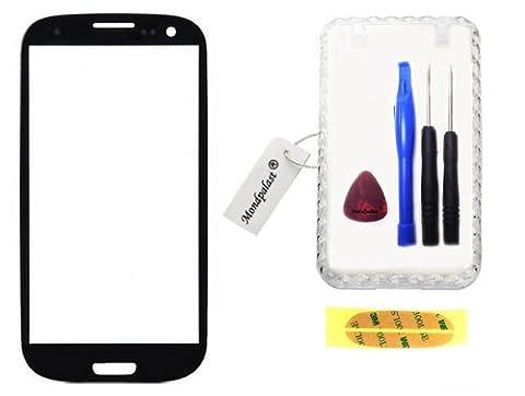 NOIR Ecran Vitre Externe Glass Pour Samsung Galaxy S3 GT-i9300