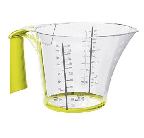 rotho 1111705070 Messbecher Loft, hochwertig mit ergonomischem Softgriff und Skala für was-ser, Zucker, Mehl, Inhalt 1.2 L, Kunststoff, transparent / grün, 22 x 15 x 13 cm