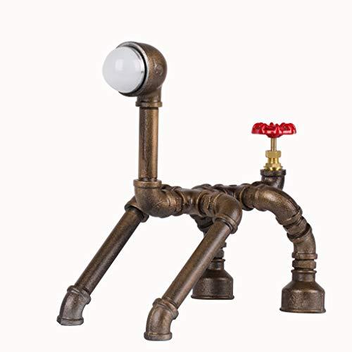 Steampunk-Lampe mit Dimmer, Hund Figur Dimmbare Loft Stil Lampe Industrie Vintage antike Art-Licht, Eisen Piping Aged Rustic Metall-Schreibtischlampe -