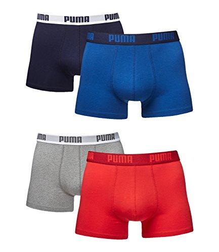 Puma Herren Boxershorts Unterhosen 521015001 4er Pack, Wäschegröße:XXL, Artikel:true blue (420)/red-grey (072)