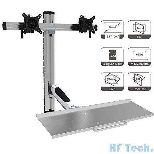 HFTEK FY09WS 2-Fach-Monitor-Halterung Halter Wandhalterung für Bildschirme von 13 bis 24 Zoll mit VESA75 / 100 - Tastaturablage mit Gasdruckfedergelenk -
