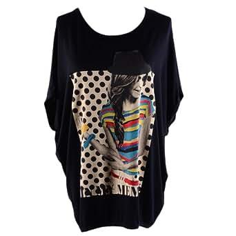 Hee Grand Women's Bat Blouses T Shirt Round Neck Batwing Dot Pattern -  Black - One size