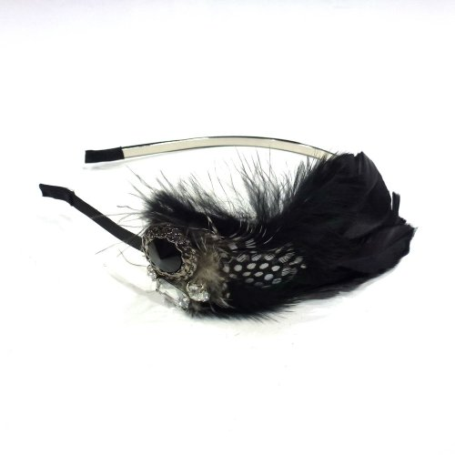 rougecaramel Haarreif/Haarband Feder und Strass–Schwarz