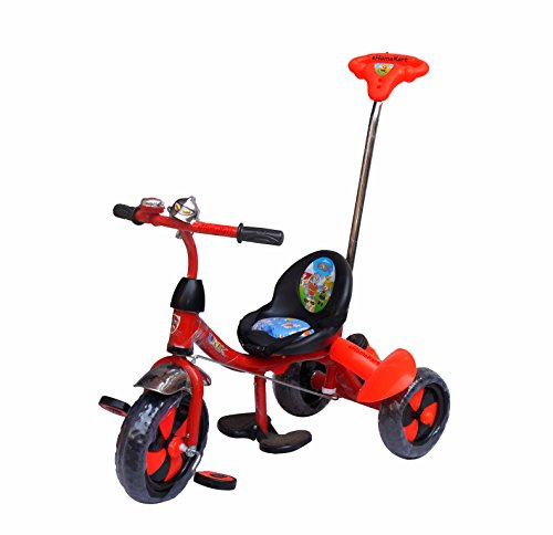 Ehomekart Funride Unik Deluxe Tricycle with Sipper, Bell and Parental Handle (Red)